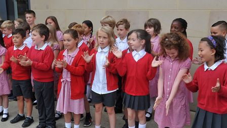 Pupils from Samuel Lucas School in Hitchin performed a rap they wrote themselves. Picture: Alan Mill