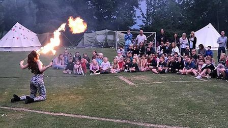 Fireeaters wowing the crowd at the festival. Picture: Friends of Weston School