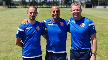Mark Sampson (left) and David Oldfield (right) with Stevenage boss Dino Maamria. Picture: Stevenage