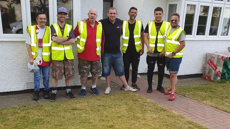 Terry Arthur (third from left) and the other men from Stevenage support group Stand By Men, who volu