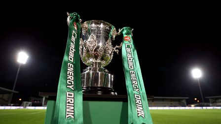 The Carabao Cup trophy on display on the pitch before the Carabao Cup, Fourth Round match at the Pir