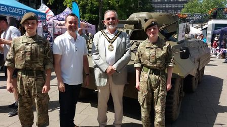 Stevenage MP Stephen McPartland and mayor Simon Speller with two army cadets. Picture Tina Benson.