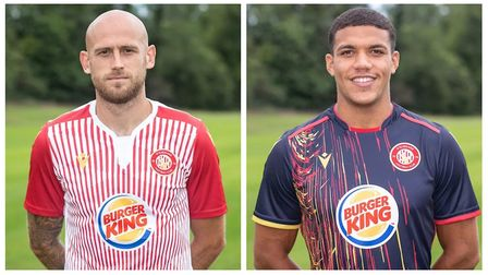 Scott Cuthbert (left) modelling the Stevenage home shirt, and Luther Wildin in the new away shirt. P