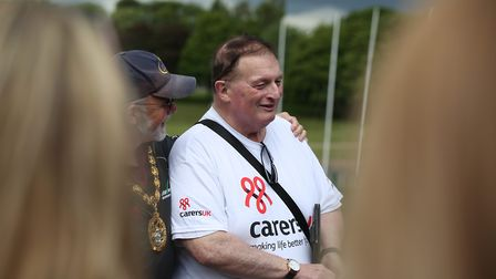 Stevenage mayor Simon Speller with a Carers UK supporter. Picture: Danny Loo