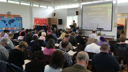 Church services are currently being held at The Leys School in Stevenage while the restoration work