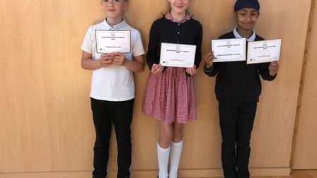 Sonny Tyrer, Julia Stankowaik and Ishaan Singh all won awards in the Junior Mathematical Challenge.