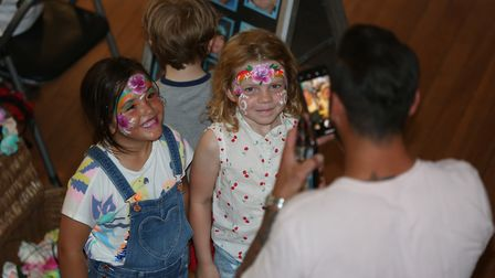 Children have their faces painted the Rhythms of the World 2019 in Hitchin Town Hall. Picture: Stran