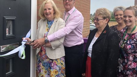 The ceremonial ribbon being cut before the opening of the new 'Safe Space.' Picture: Sharon Taylor