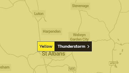 The Met Office has issued a yellow warning for thunderstorms across Herts and Cambs. Picture: Met Of