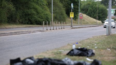 Police markings on the road remain visible after a crash in Monkswood Way, Stevenage, last night. Pi