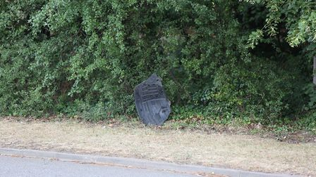 Debris left at the scene following last night's crash which took place near to Stevenage FC's footba