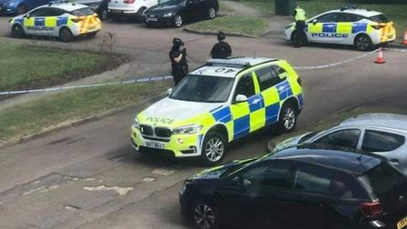Armed police responding to the incident in Hitchin earlier this afternoon. Picture: Deb Moore