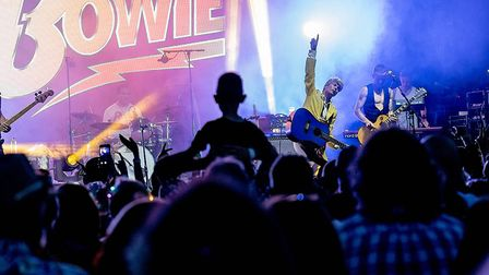 Absolute Bowie on stage at Todd in the Hole Festival. Picture: Martin Wootton