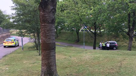 One car ended up going down the grassy bank and onto the cycle path below following a crash in Fairl