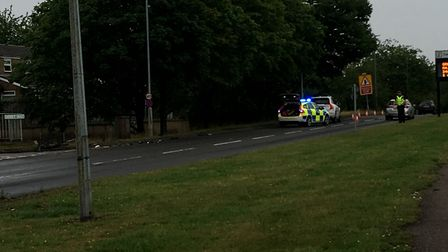 A police officer has been controlling traffic following the crash in Stevenage's Fairlands Way, at t
