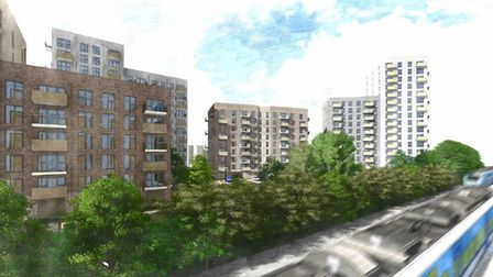 View of the proposed development from Chequers Bridge, looking south over the railway line.