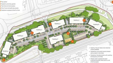 Site layout showing location of apartment blocks.