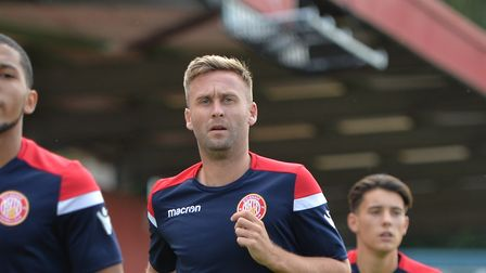 Stevenage players warm up during Stevenage vs Portsmouth, Friendly Match Football at the Lamex Stad