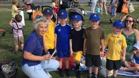 Stevenage teacher Mandy Powell with Martins Wood pupils at the after-school picnic held for her reti
