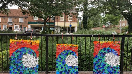 Some of the seaside-themed bottle top artwork which helped Cardies win the national award. Picture: