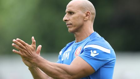 Manager of Stevenage FC Dino Maamria during St Albans City vs Stevenage, Friendly Match Football at