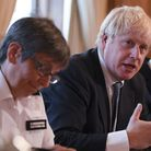 Prime Minister Boris Johnson in Downing Street, with Metropolitan Police Commissioner Cressida Dick