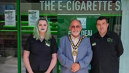Mayor Cllr Simon Speller was delighted to see Stevenage's new vape store open. Picture: Mediazoo