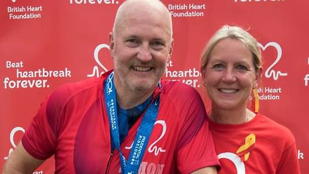 Simon Race, with his wife Susie, after the RideLondon-Surrey 100. Picture: Danny Fitzpatrick.