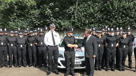 The new recruits meet Herts Police and Crime Comissioner David Lloyd at Letchworth Police Station. P