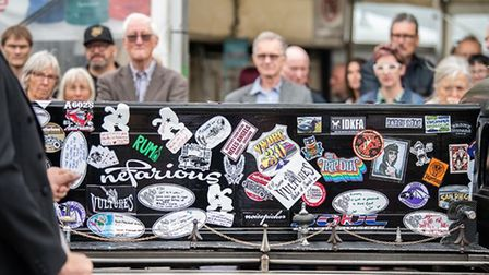 Simon's hearse was covered in personalised stickers and messages. Picture: Lyndsey Challis