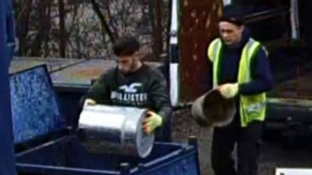 Police are appealing for help to identify these two men, who were caught on camera taking £2,000 wor