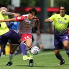 Nicky Law and Craig Woodman of Exeter City and Arthur Iontton of Stevenage during Stevenage vs Exete