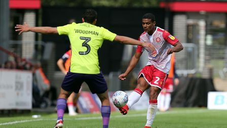 Luther Wildin of Stevenage and Craig Woodman of Exeter City during Stevenage vs Exeter City, Sky Bet