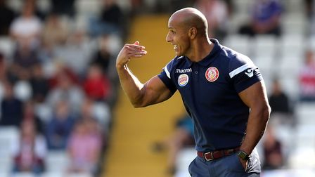Stevenage manager Dino Maamria during Stevenage vs Exeter City, Sky Bet EFL League 2 Football at the