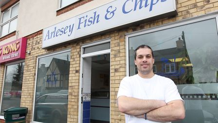 Arlesey Fish and Chips owner Dragan Marjanovic outside his shop