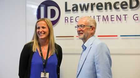 Jeremy Corbyn with Kelly Notley, the director of Lawrence Dean Recruitment Group, which is based at