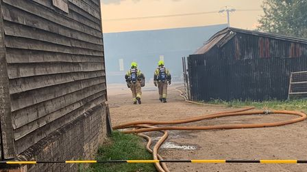 Bedfordshire Fire and Rescue Service successfully tackled a large barn fire in Stotfold on Monday