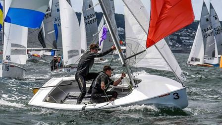 Eden and Josh Hyland are very competitive when it comes to sailing. Picture: Lee Whitehead.