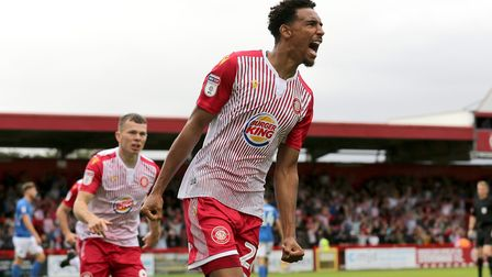 Kurtis Guthrie of Stevenage scores the first goal for his team and celebrates during Stevenage vs Ma