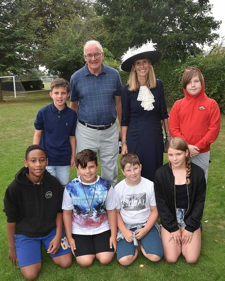 Stonehill School fundraisers with Stand by Me chairman Ian Cotteril and the High Sheriff of Hertford