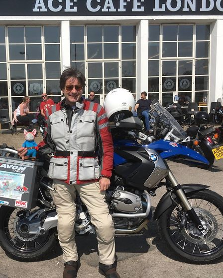 Richard Barr outside Ace Café in London ready to set off on his latest adventures. Picture: Courtesy