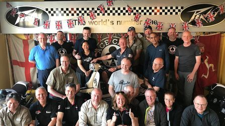 'Globebusters' team ready to depart the Ace Café in London in April. Picture: Courtesy of Richard Ba