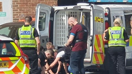 Officers made an arrest in Stevenage town centre this afternoon. Picture: Supplied