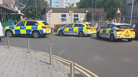 Police parked up in Southgate in Stevenage town centre. Picture: Supplied