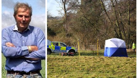 Gosmore farmer William 'Bill' Taylor, and police at the scene where his body was found. Picture: Her