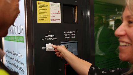 Unveiling of one of the first reverse vending machines in the UK in Letchworth Garden City. Picture: