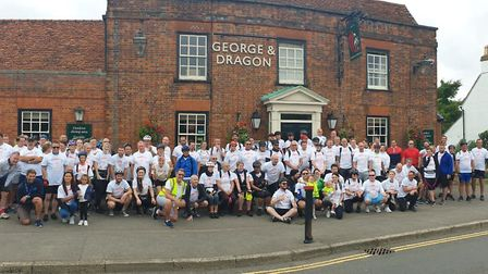 More than 100 people took part in Kerry Duggan's annual hospice bike ride. Picture: Garden House Hos