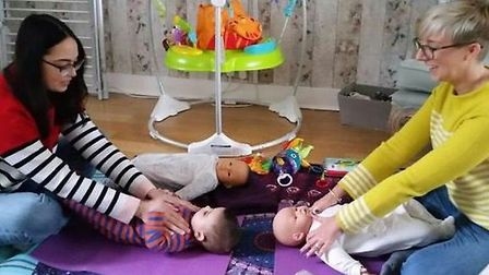 Baby massage classes with the Community Perinatal Team. Picture courtesy of HPFT.