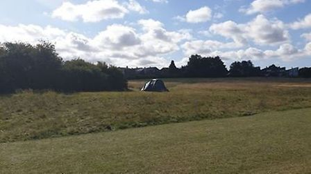The homeless couple have pitched a tent in Fairlands Valley Park. Picture: Kevin Williamson.