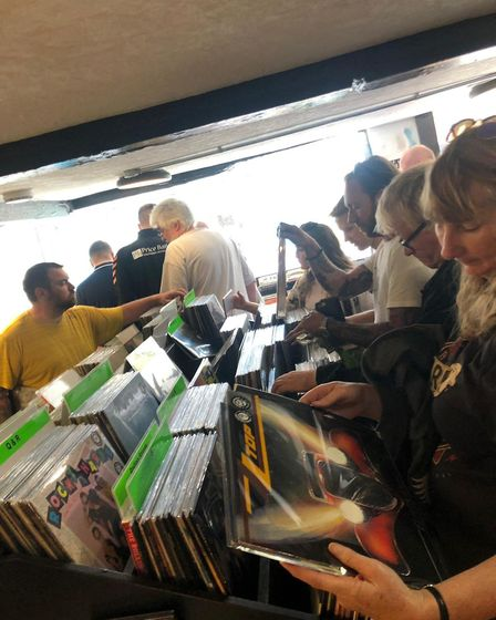 Record buyers at Revolution Records